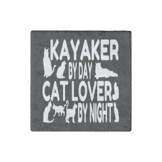 Cat Lover Kayaker Stone Magnets
