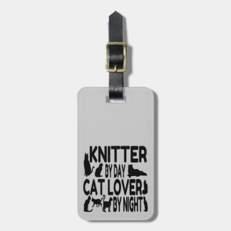 Cat Lover Knitter Luggage Tag