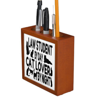 Cat Lover Law Student Pencil Holder