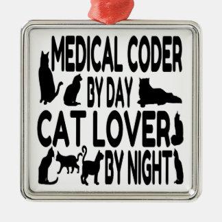 Cat Lover Medical Coder Metal Ornament