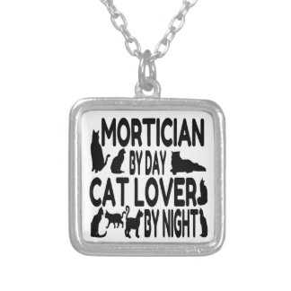 Cat Lover Mortician Silver Plated Necklace