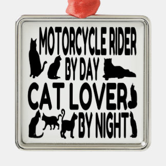 Cat Lover Motorcycle Rider Metal Ornament