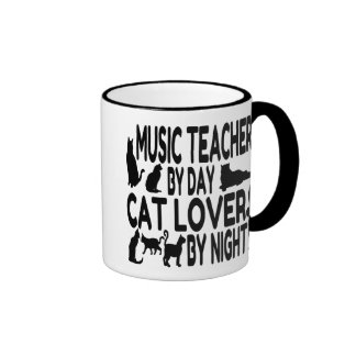 Cat Lover Music Teacher Ringer Mug