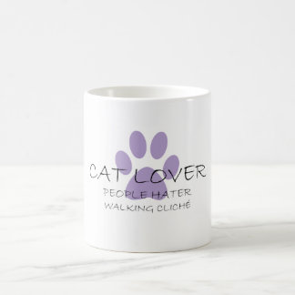Cat Lover People Hater Walking Cliche Classic White Coffee Mug