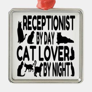 Cat Lover Receptionist Metal Ornament