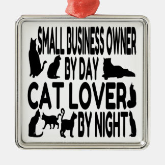 Cat Lover Small Business Owner Silver-Colored Square Ornament