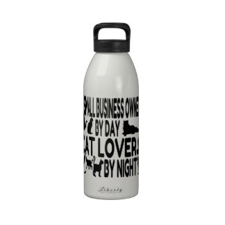 Cat Lover Small Business Owner Water Bottles
