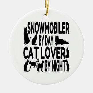 Cat Lover Snowmobiler Ceramic Ornament
