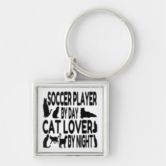 Cat Lover Soccer Player Keychain