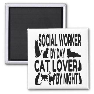 Cat Lover Social Worker Square Magnet