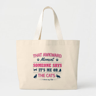 Cat lover tshirts large tote bag