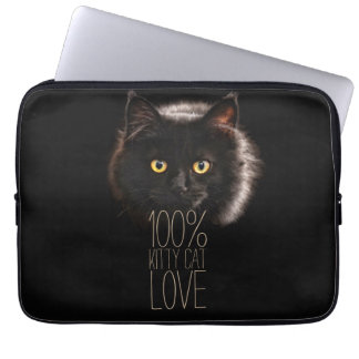 Cat Lover Typographic Black Kitty Laptop Sleeve