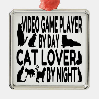 Cat Lover Video Game Player Metal Ornament