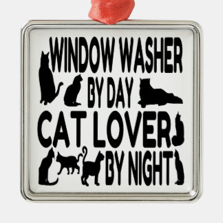 Cat Lover Window Washer Metal Ornament