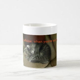 Cat-lovers coffee mug; tabby cat sleeping, mug w/