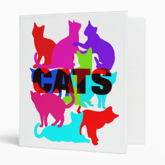 Cat Lovers Colorful Feline Themed 3 Ring Binder