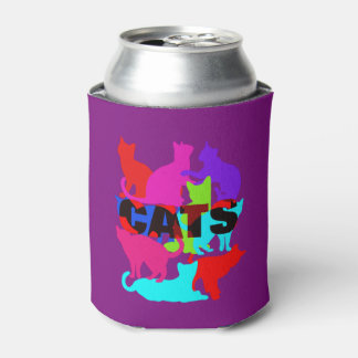 Cat Lovers Colorful Feline Themed Can Cooler