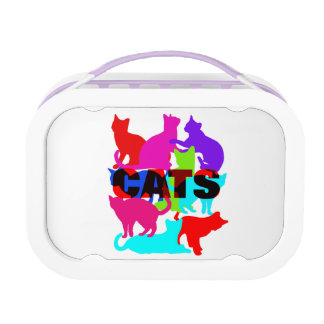 Cat Lovers Colorful Feline Themed Lunch Box