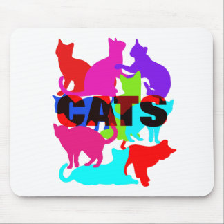 Cat Lovers Colorful Feline Themed Mouse Pad