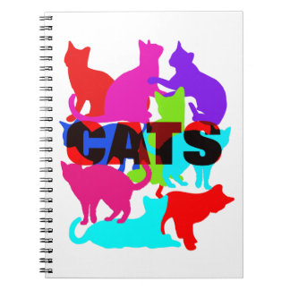 Cat Lovers Colorful Feline Themed Spiral Notebook