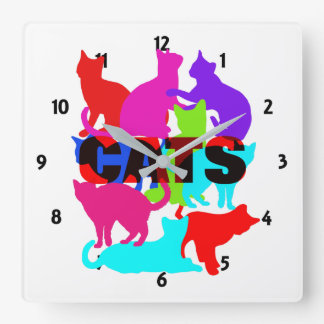 Cat Lovers Colorful Feline Themed Square Wall Clock