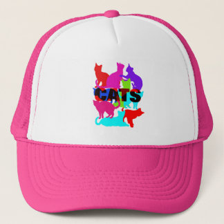 Cat Lovers Colorful Feline Themed Trucker Hat