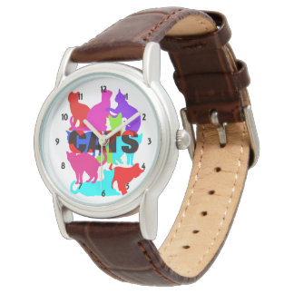 Cat Lovers Colorful Feline Themed Watch