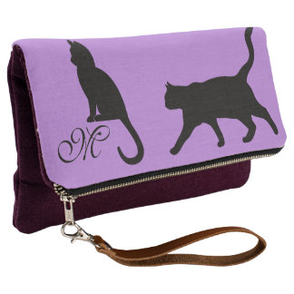 Cat Lovers Monogrammed Fold Over Clutch