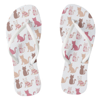 Cat Lovers Pattern Flip Flops