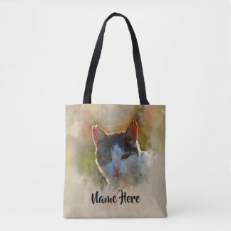Cat Lovers Personalized Watercolor Tote Bag