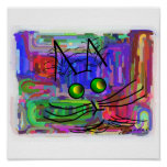 """Cat Lovers Poster """"The Curious Abstract Cat"""""""