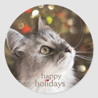 Cat Lover's Sparkling Christmas Stickers