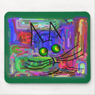 """Cat Lovers """"The Curious Abstract Cat"""" Art Mouse Pad"""