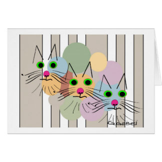"Cat Lovers ""Three Amigos"" Cat Art Greeting Card"
