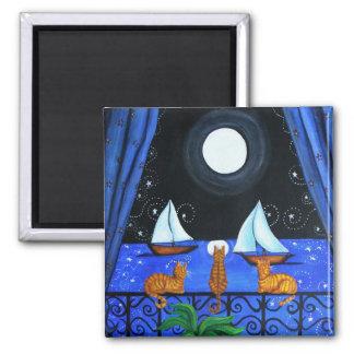 Cat Magical Night Square Magnet