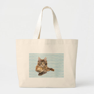 Cat, Maine Coon Large Tote Bag