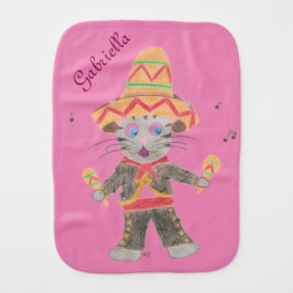 Cat Mariachi Musician pink personalized burp cloth