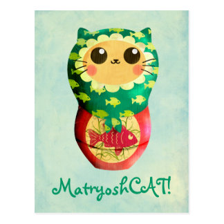 Cat Matryoshka Doll Postcard
