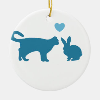 Cat Meets Bunny Round Ceramic Ornament