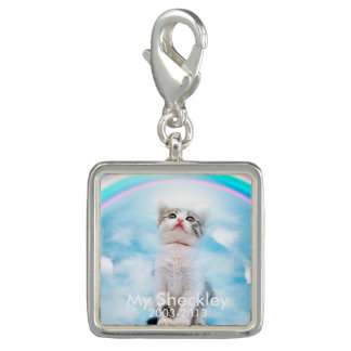 Cat Memorial Custom Square Charm, Silver Plated Charm