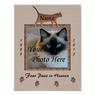 Cat Memorial Print - Brown Tones Custom