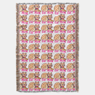 Cat Mom Hearts Kitty Throw