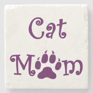 Cat Mom, Purple, Coasters,  Mothers Day Stone Coaster