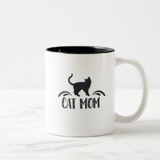Cat Mom Two-Tone Coffee Mug