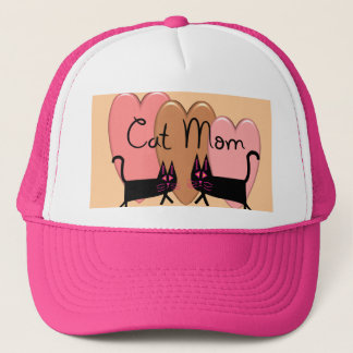 """""""Cat Mom"""" with Hearts Gifts Trucker Hat"""
