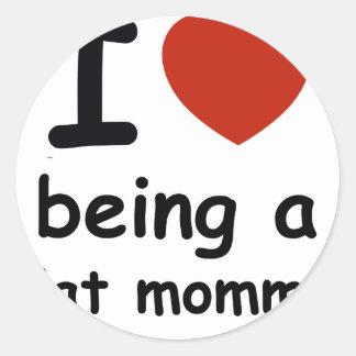cat mommy design round sticker