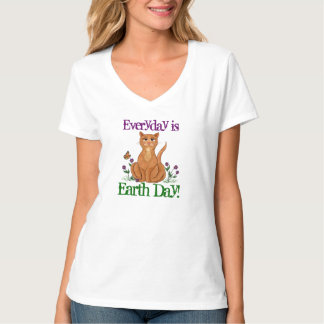 Cat & Monarch Everyday is Earth Day! - T-shirt