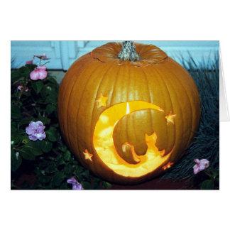 Cat Moon Pumpkin Card
