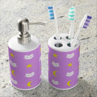 Cat Moon Stars Toothbrush Holder & Soap Dispenser