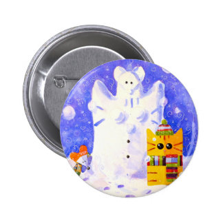 Cat, Mouse and snowman 2 Inch Round Button
